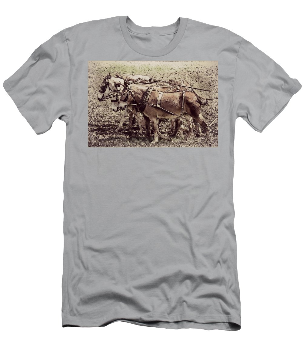 Mules Men's T-Shirt (Athletic Fit) featuring the photograph Mule Team by Alice Gipson