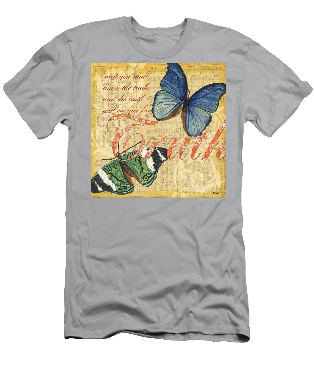 Butterfly Men's T-Shirt (Athletic Fit) featuring the painting Musical Butterflies 3 by Debbie DeWitt
