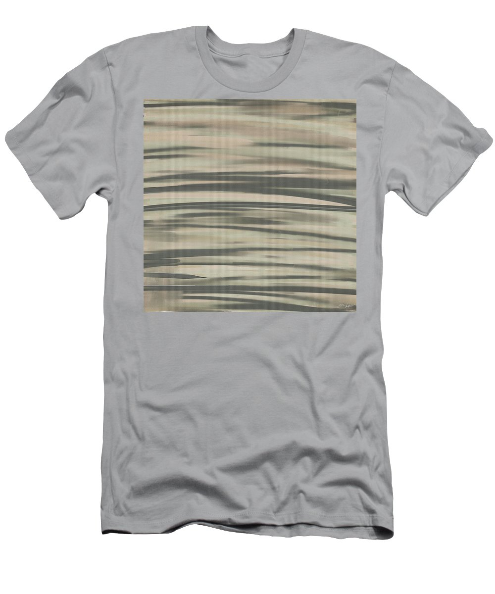 Charcoal Gray Men's T-Shirt (Athletic Fit) featuring the painting Muted Shades by Lourry Legarde