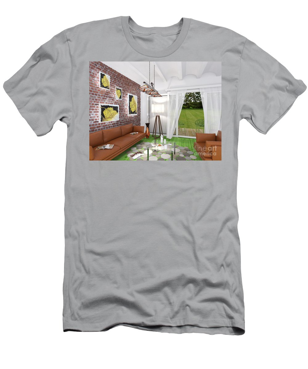 Yakubovich Men's T-Shirt (Athletic Fit) featuring the painting My Art In The Interior Decoration -leaf- Elena Yakubovich by Elena Yakubovich