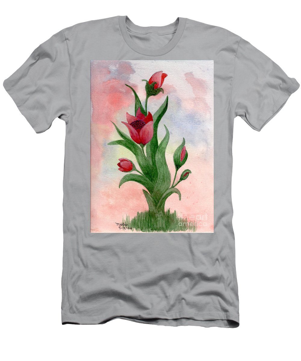 Floral Men's T-Shirt (Athletic Fit) featuring the painting Mystery by Flamingo Graphix John Ellis