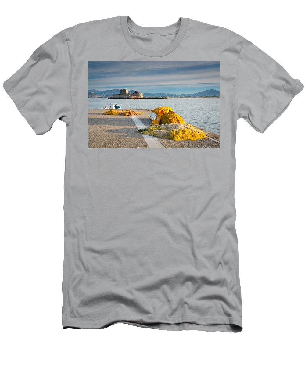 Peloponnese Men's T-Shirt (Athletic Fit) featuring the photograph Nafplio Fishing Harbour by Milan Gonda