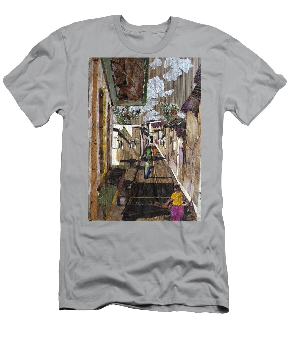 Street Scene Men's T-Shirt (Athletic Fit) featuring the mixed media Narrow Street by Basant Soni
