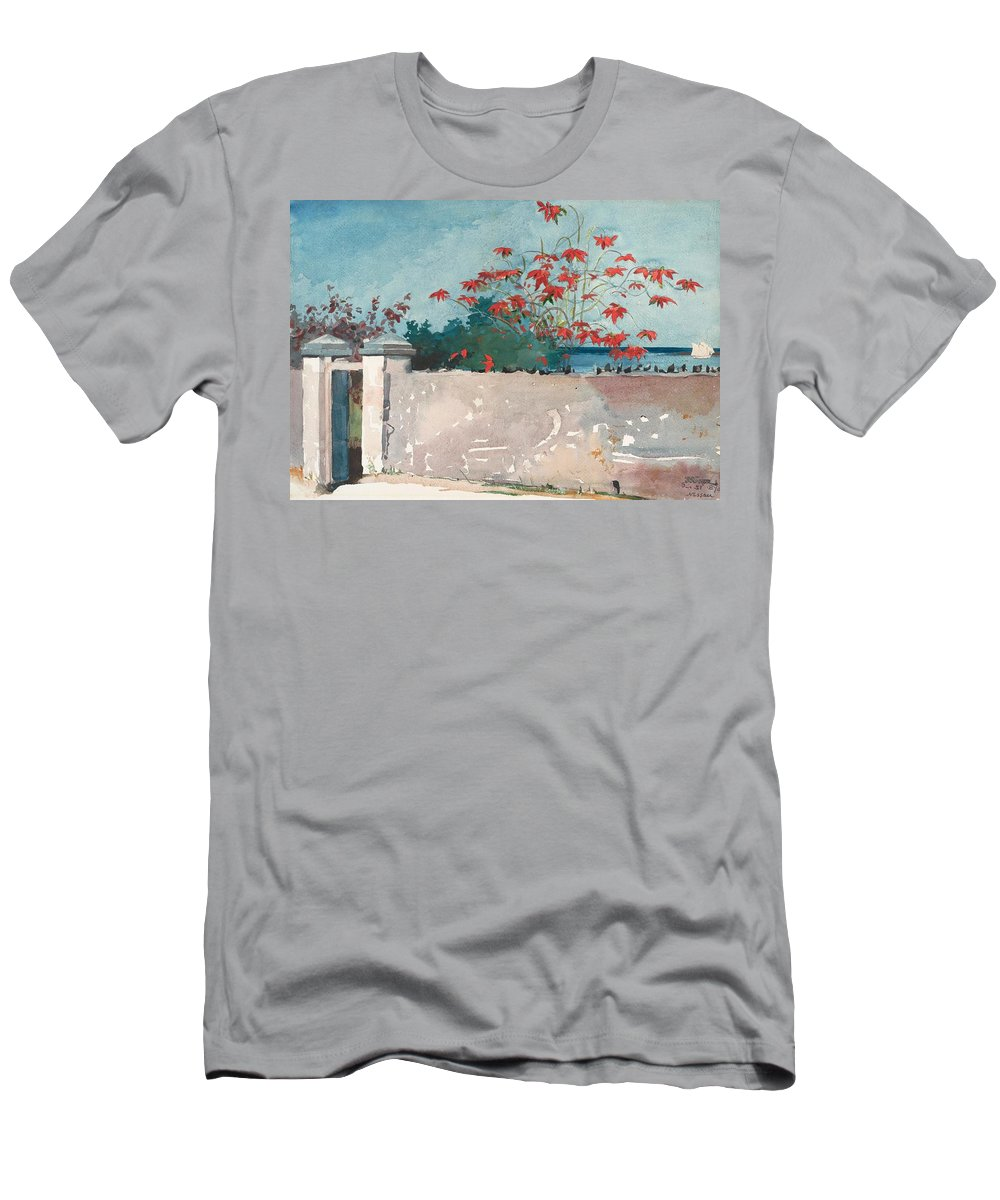 Winslow Homer Men's T-Shirt (Athletic Fit) featuring the painting Nassau Bahamas by Winslow Homer