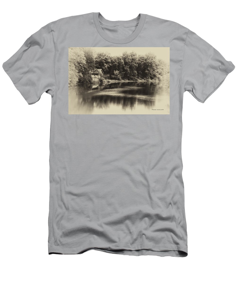 Marsh Men's T-Shirt (Athletic Fit) featuring the photograph Nature Center Salt Creek In Heirloom Finish by Thomas Woolworth