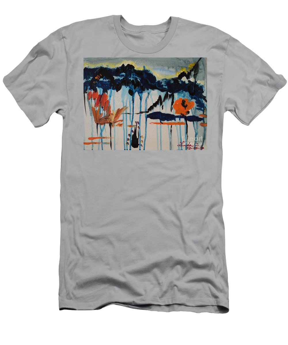 Flower Men's T-Shirt (Athletic Fit) featuring the painting Nature View by Linda Lin