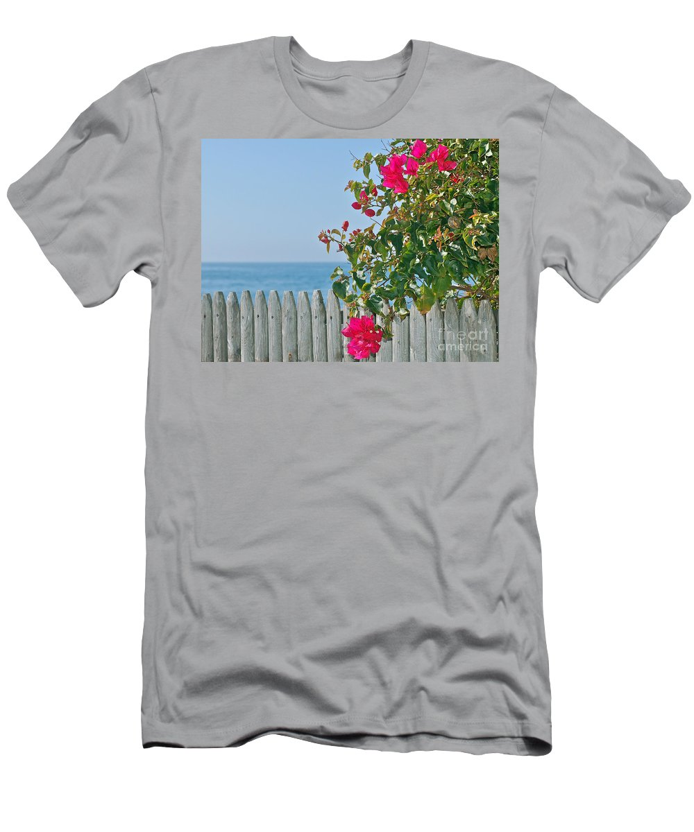 Bougainvillea Men's T-Shirt (Athletic Fit) featuring the photograph New Photographic Art Print For Sale On The Fence Montecito Bougainvillea Overlooking The Pacific by Toula Mavridou-Messer