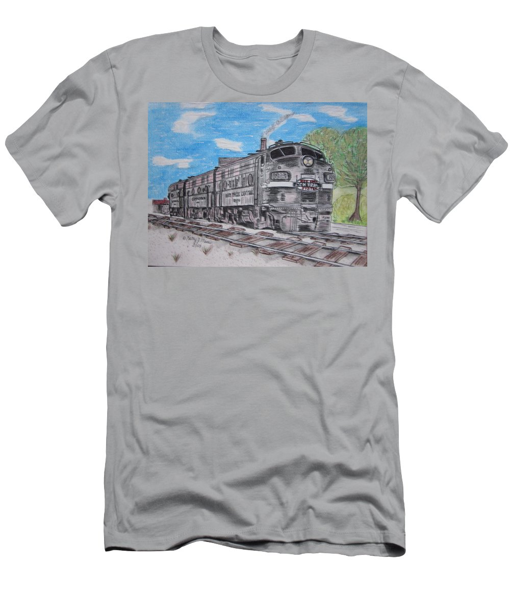 New York Men's T-Shirt (Athletic Fit) featuring the painting New York Central Train by Kathy Marrs Chandler