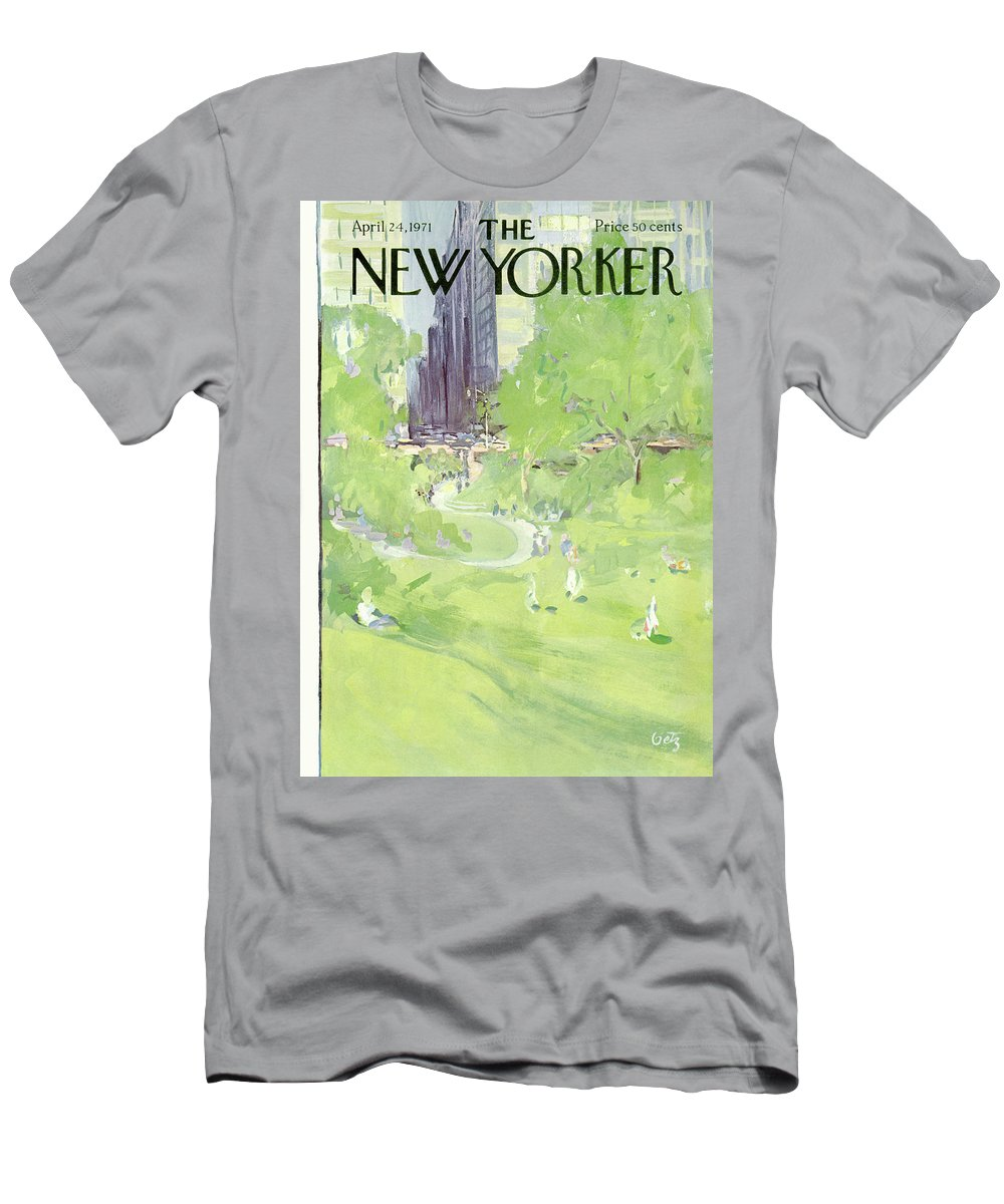 Urban Men's T-Shirt (Athletic Fit) featuring the painting New Yorker April 24th, 1971 by Arthur Getz