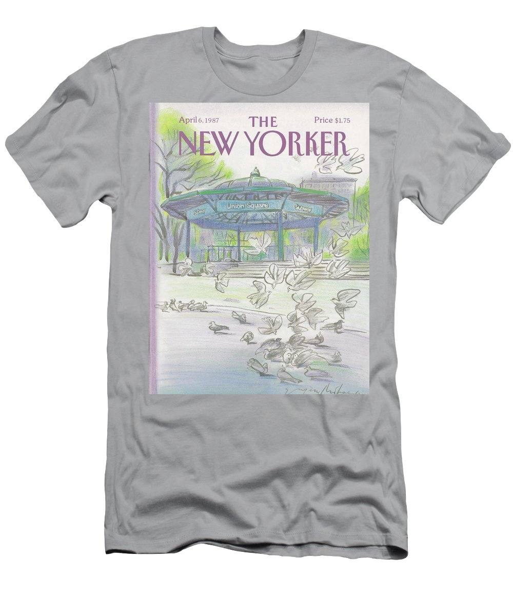 New York City T-Shirt featuring the painting New Yorker April 6th, 1987 by Eugene Mihaesco