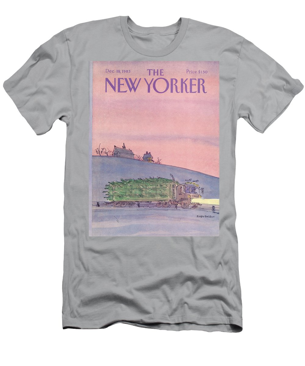 Seasons Men's T-Shirt (Athletic Fit) featuring the painting New Yorker December 19th, 1983 by James Stevenson