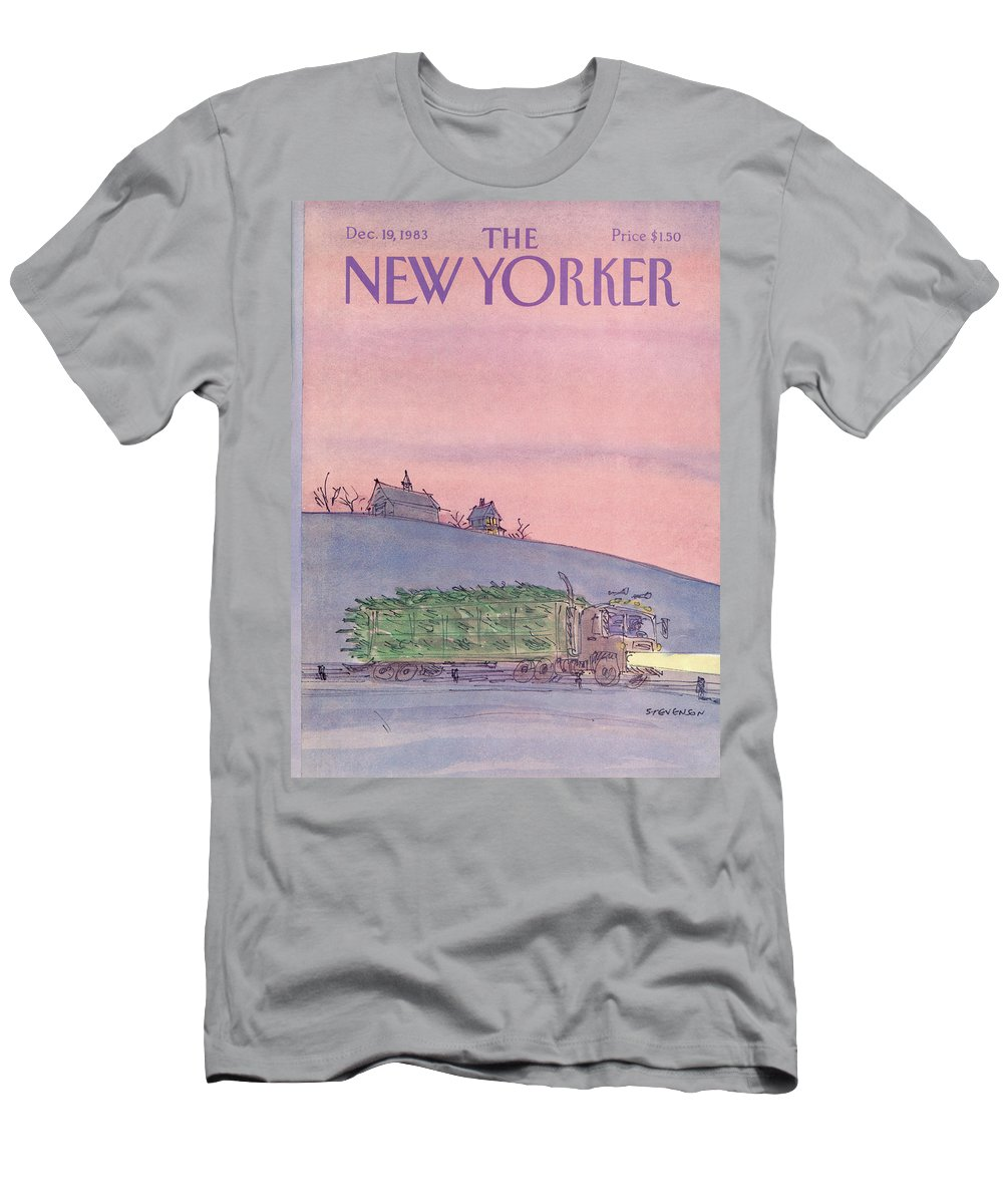 Seasons T-Shirt featuring the painting New Yorker December 19th, 1983 by James Stevenson
