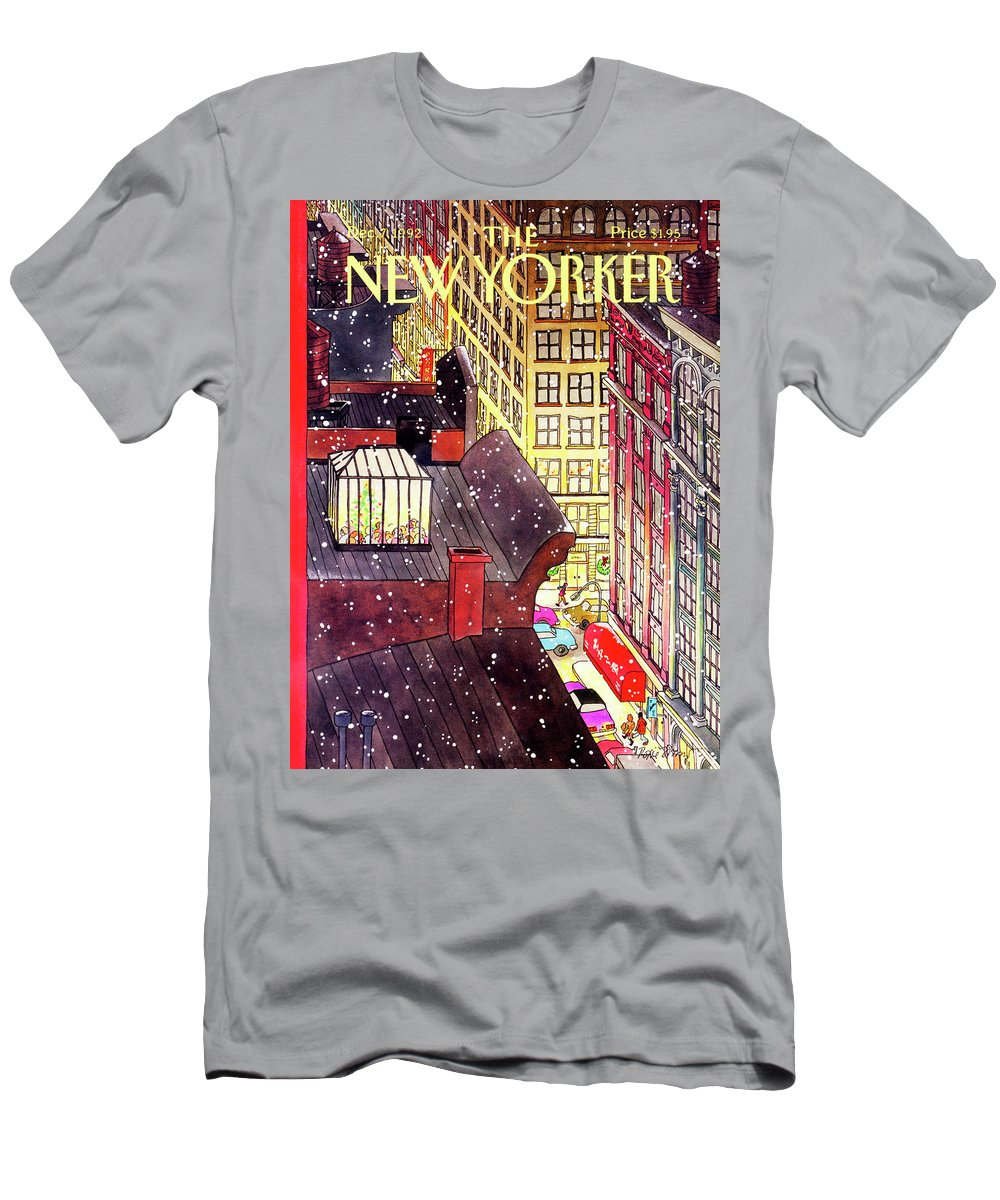 A Birds-eye View Of A Busy Shopping Evening Downtown. Snow Begins To Fall On The Rooftops Where One Sunroof Is Illuminated By A Crowd Gathered Around A Christmas Tree. T-Shirt featuring the painting New Yorker December 7th, 1992 by Roxie Munro
