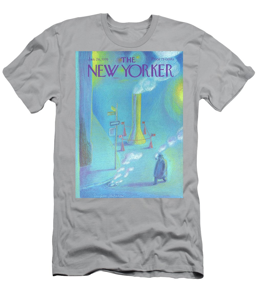 Smoke Men's T-Shirt (Athletic Fit) featuring the painting New Yorker January 26th, 1976 by Eugene Mihaesco
