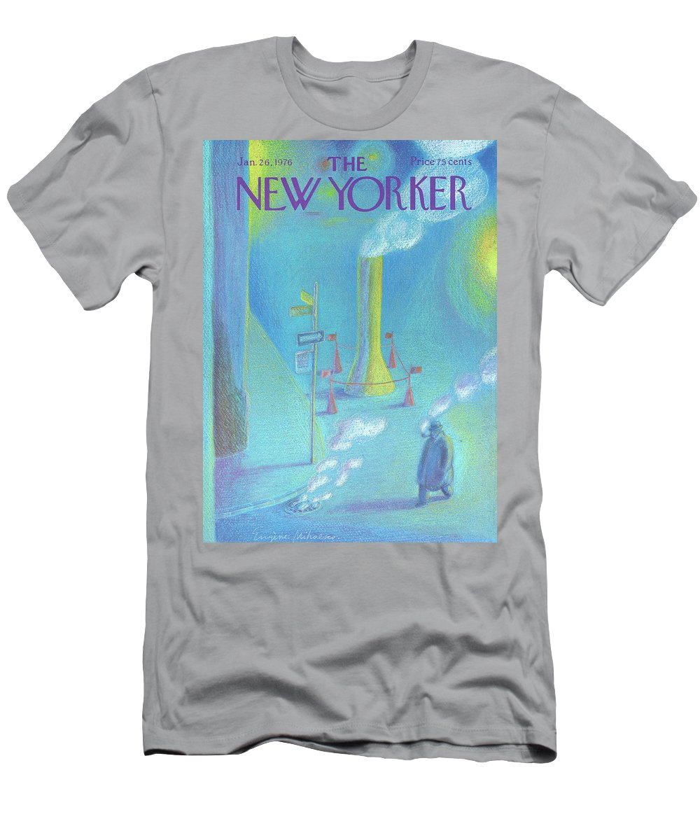 Smoke T-Shirt featuring the painting New Yorker January 26th, 1976 by Eugene Mihaesco