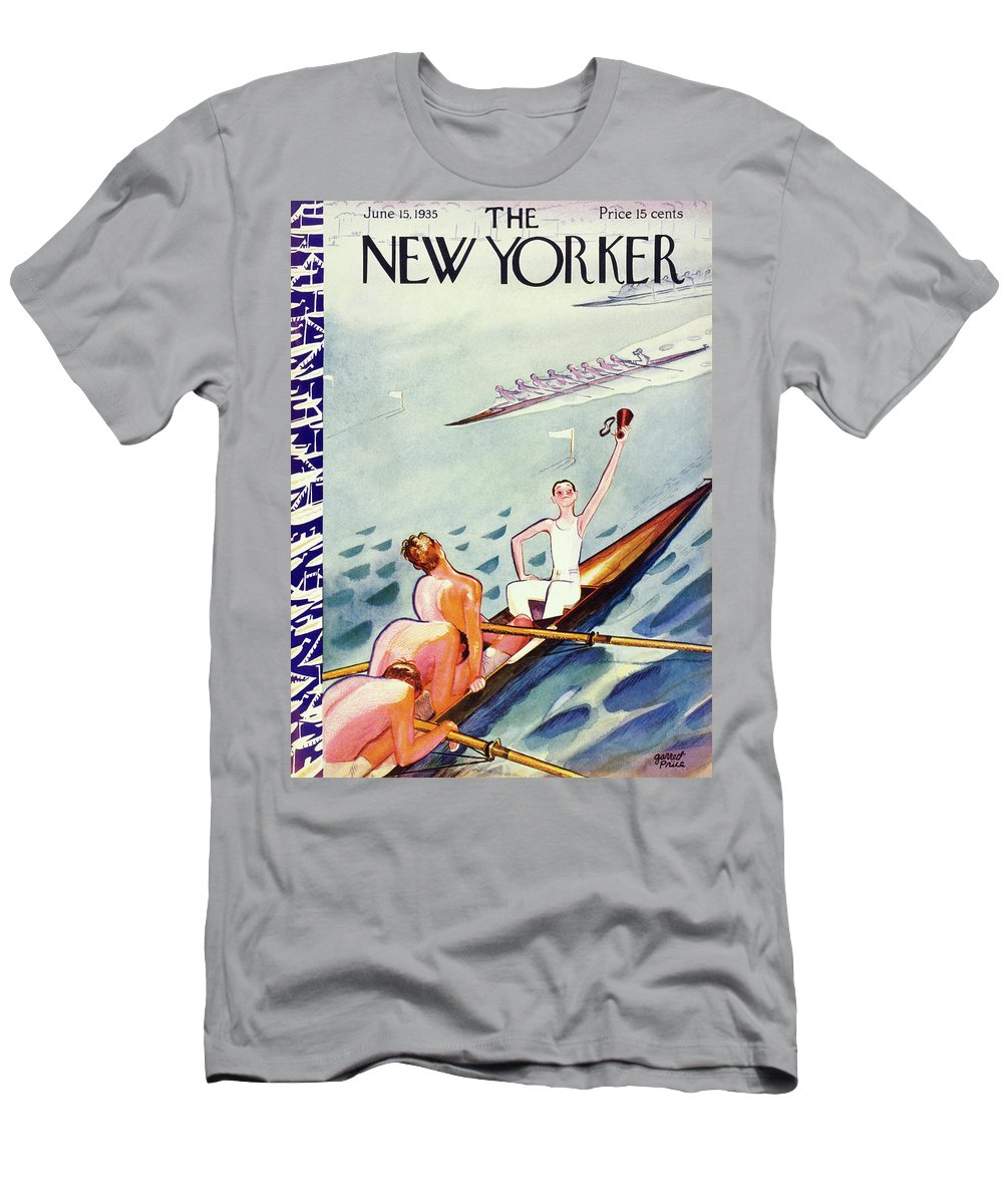 Illustration Men's T-Shirt (Athletic Fit) featuring the painting New Yorker June 15 1935 by Garrett Price