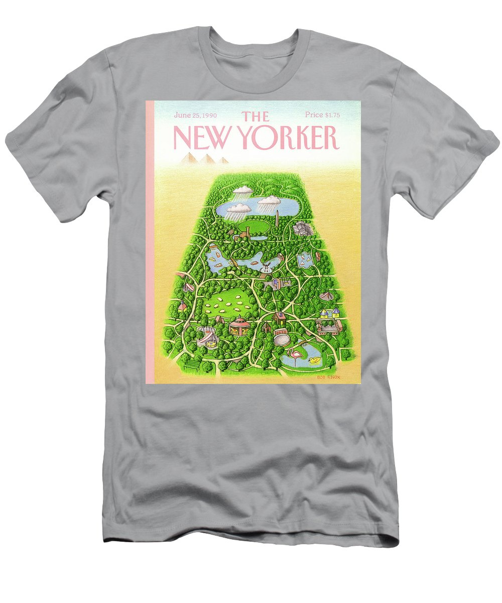 New York City Men's T-Shirt (Athletic Fit) featuring the painting New Yorker June 25th, 1990 by Bob Knox