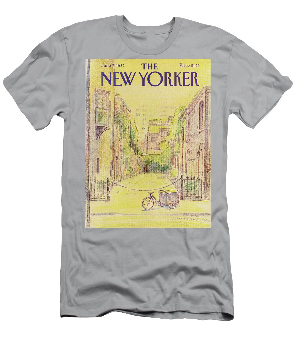 Washington Mews Men's T-Shirt (Athletic Fit) featuring the painting New Yorker June 7th, 1982 by Eugene Mihaesco