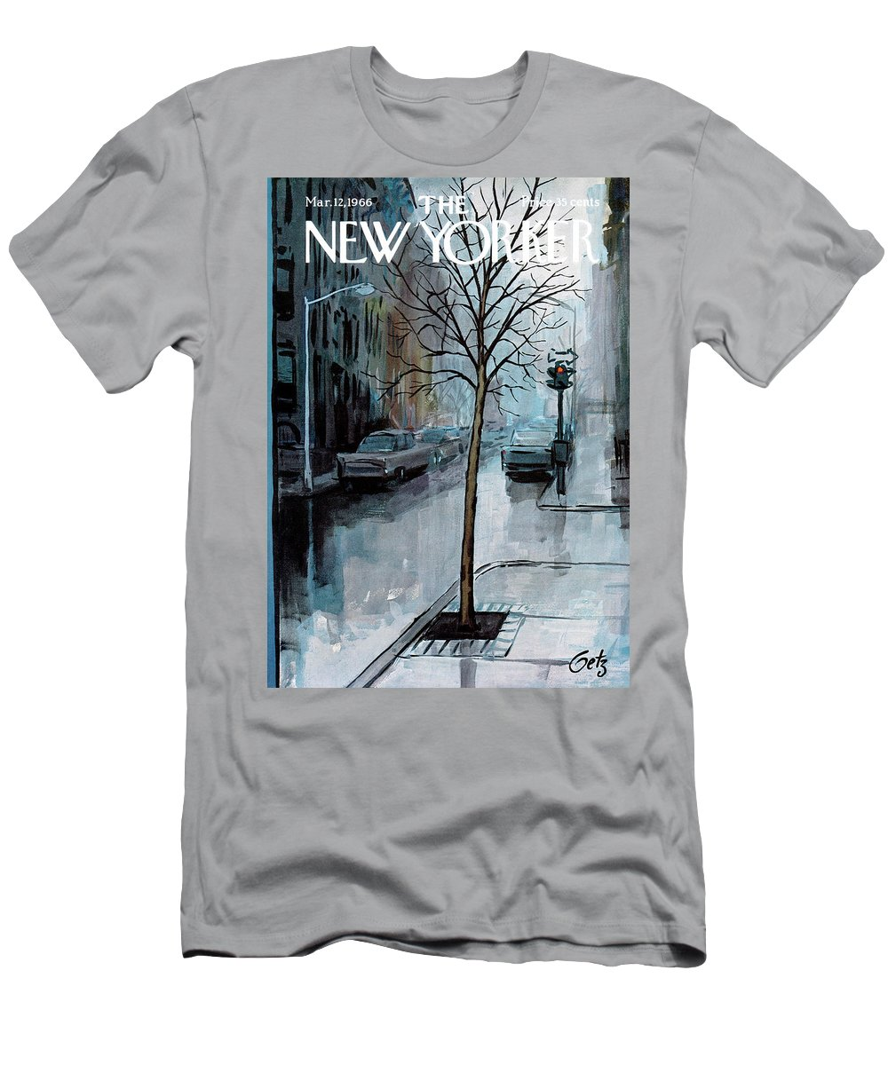 Rain T-Shirt featuring the painting New Yorker March 12th, 1966 by Arthur Getz