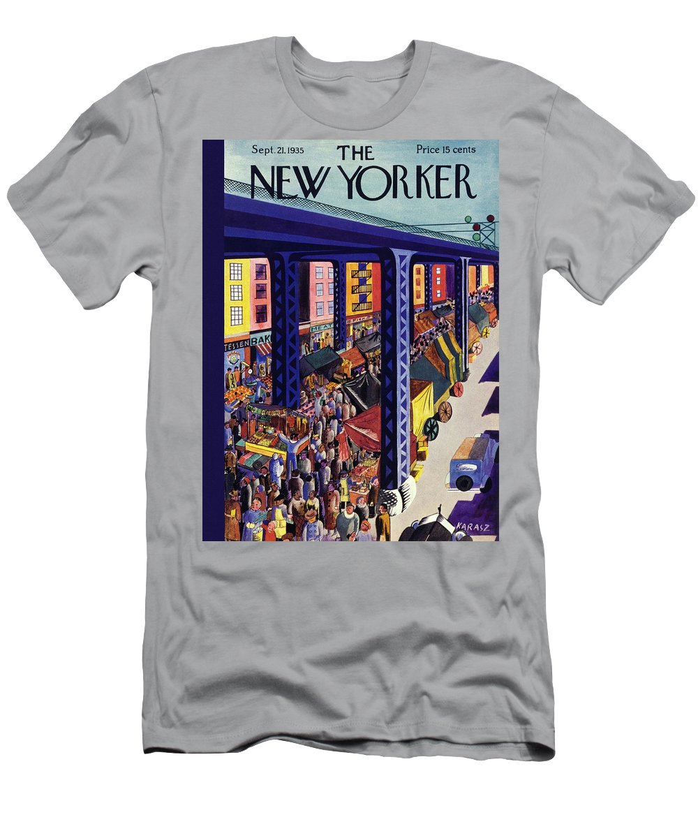 Travel T-Shirt featuring the painting New Yorker September 21 1935 by Ilonka Karasz