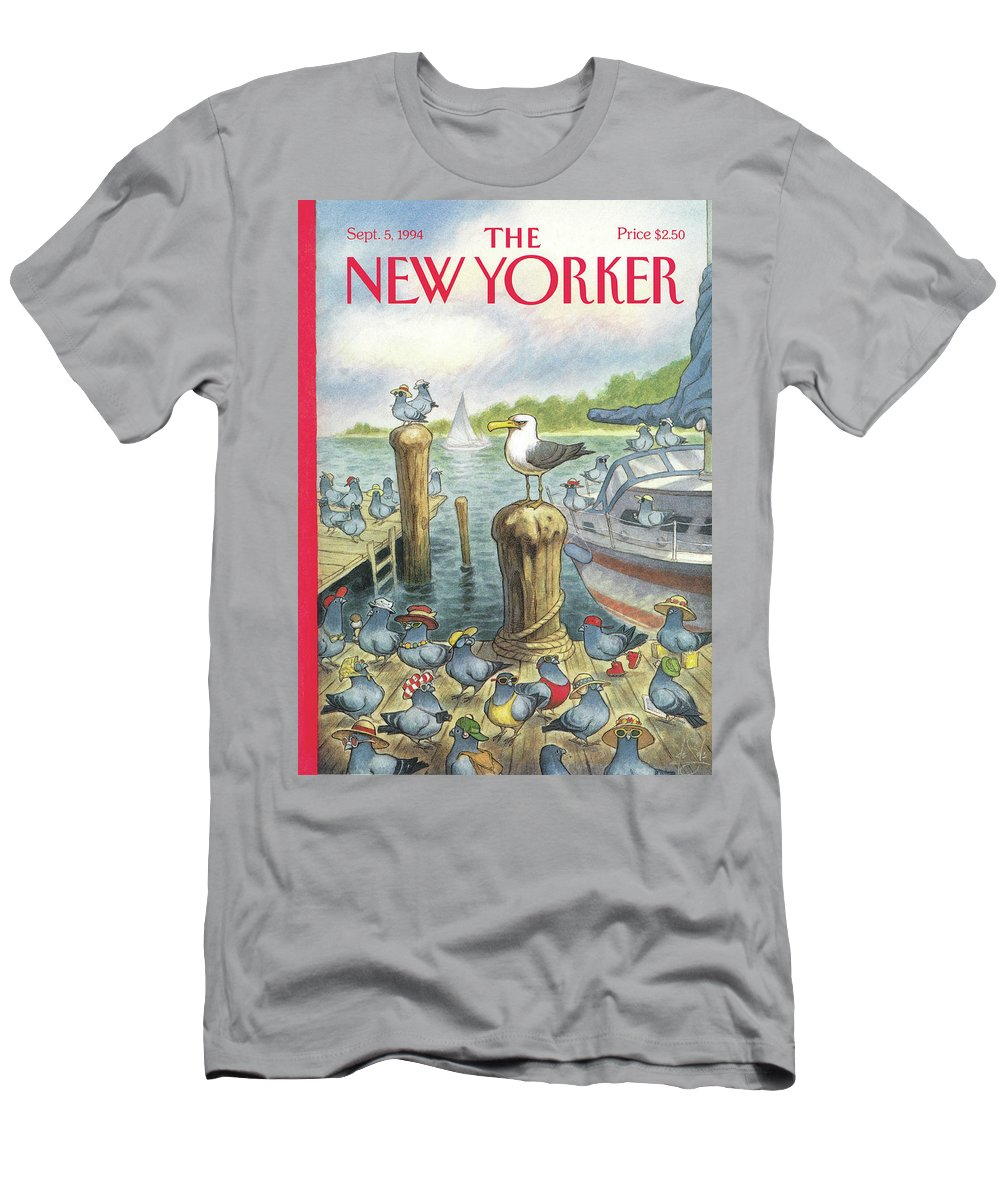 Labor Day Men's T-Shirt (Athletic Fit) featuring the painting New Yorker September 5th, 1994 by Peter de Seve