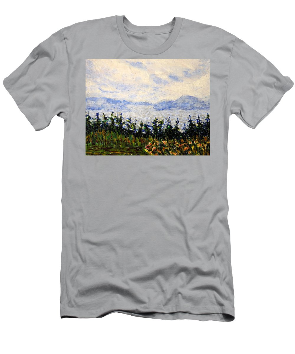 Newfoundland Men's T-Shirt (Athletic Fit) featuring the painting Newfoundland Up The West Coast by Ian MacDonald