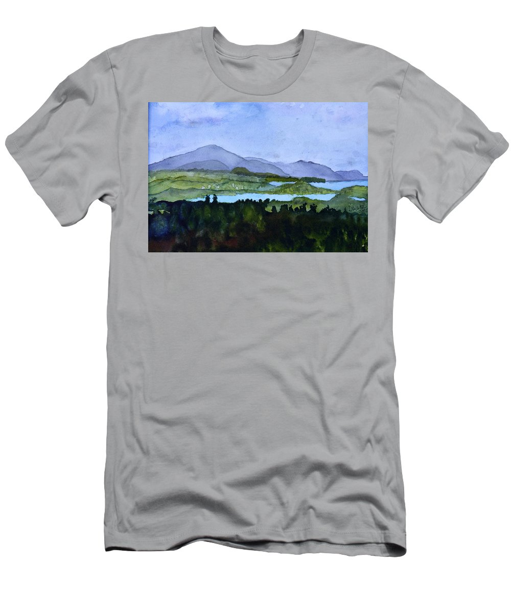 Newport Vt Men's T-Shirt (Athletic Fit) featuring the painting Newport From Brownington Lookout by Donna Walsh