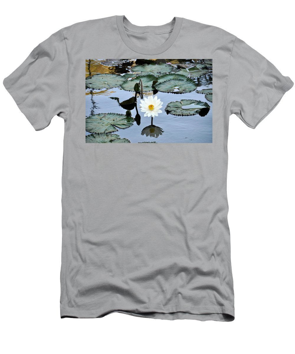 Fresh Water Pond Men's T-Shirt (Athletic Fit) featuring the photograph #night Blooming Water Lily by Cornelia DeDona