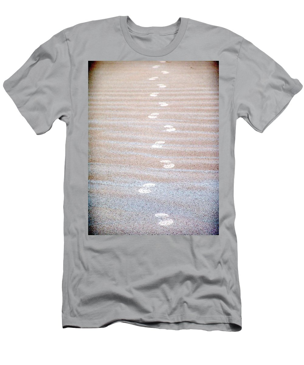Footprint Men's T-Shirt (Athletic Fit) featuring the photograph Night Beach Sand Footprints by Ian Mcadie