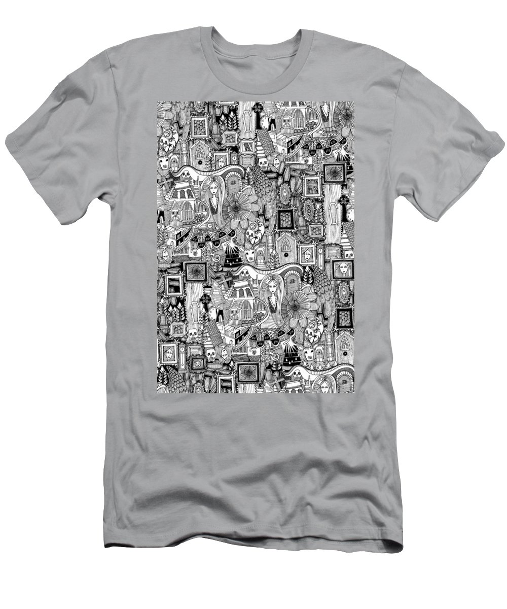 Ghost Men's T-Shirt (Athletic Fit) featuring the drawing Nightmares by MGL Meiklejohn Graphics Licensing