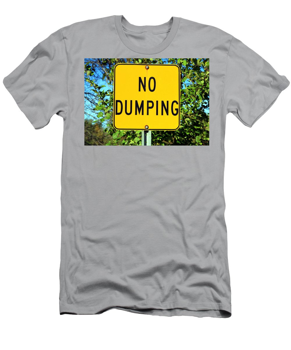 Sign Men's T-Shirt (Athletic Fit) featuring the photograph No Dumping Sign by Valentino Visentini