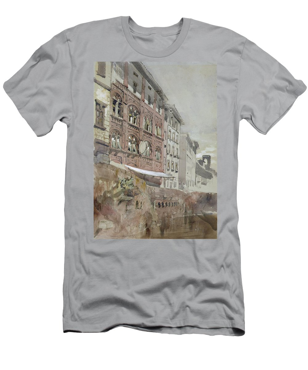 Men's T-Shirt (Athletic Fit) featuring the painting No.1590 Palazzo Agostini, Pisa, 1845 by John Ruskin