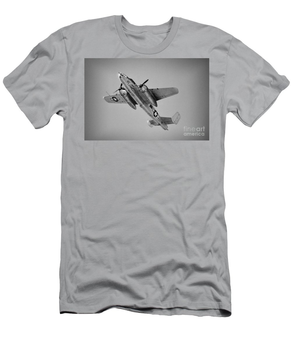 North American B-25 Mitchell Men's T-Shirt (Athletic Fit) featuring the photograph North American B-25 Mitchell Bw by Tommy Anderson