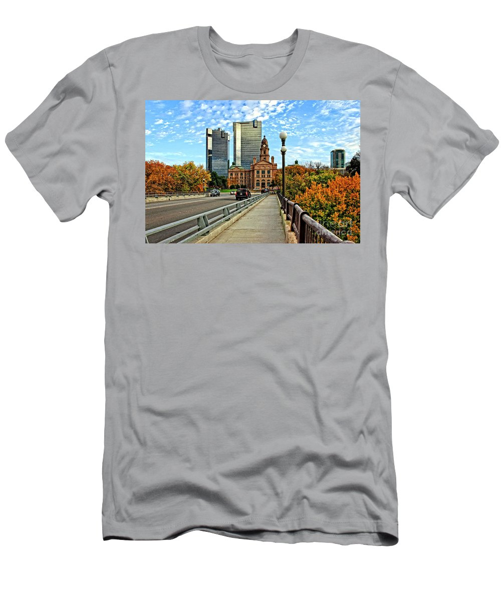 Downtown Fort Worth Men's T-Shirt (Athletic Fit) featuring the photograph North Main Street 2 by Earl Johnson