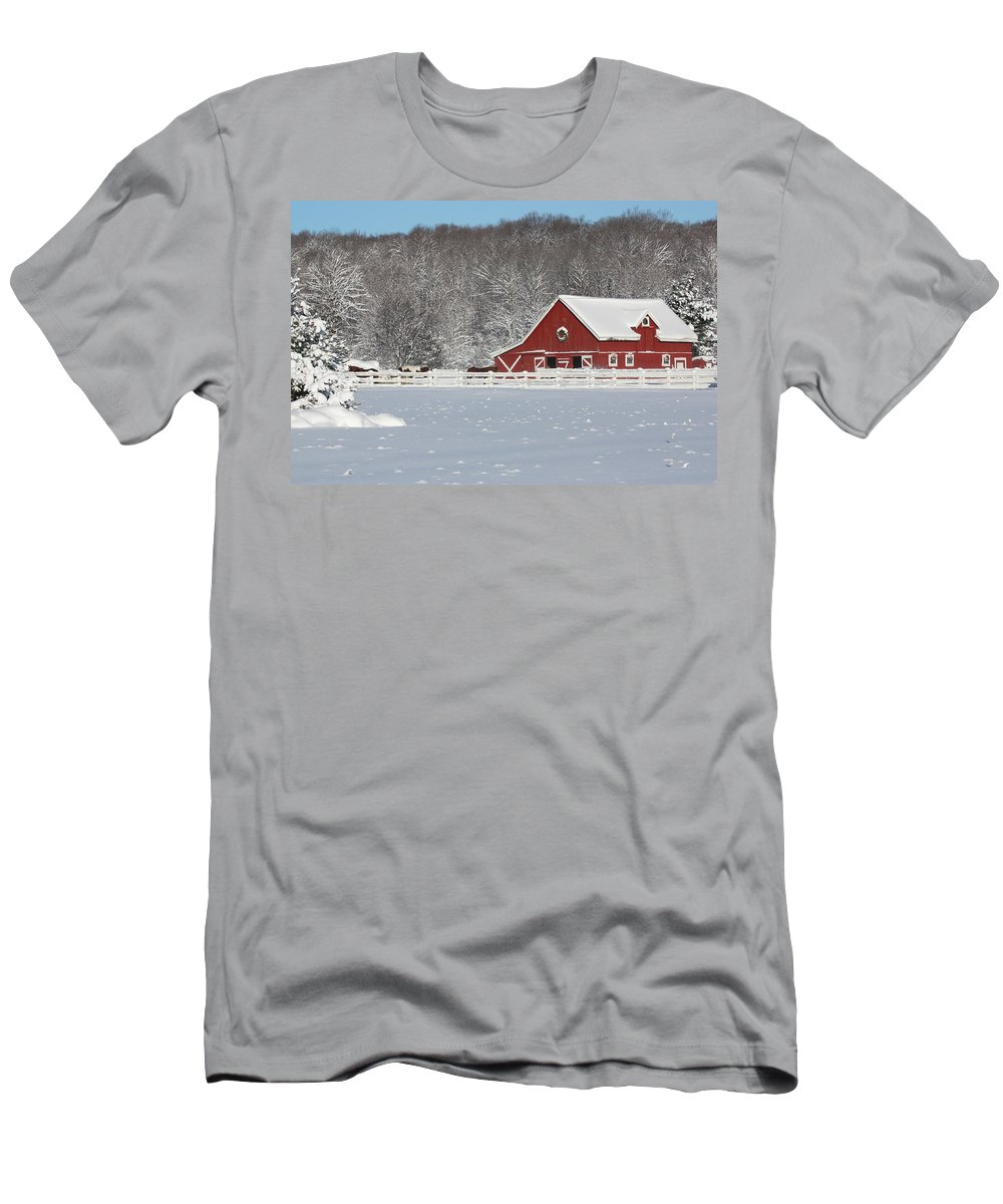 Barn Men's T-Shirt (Athletic Fit) featuring the photograph Northern Michigan Country Winter by Teresa McGill