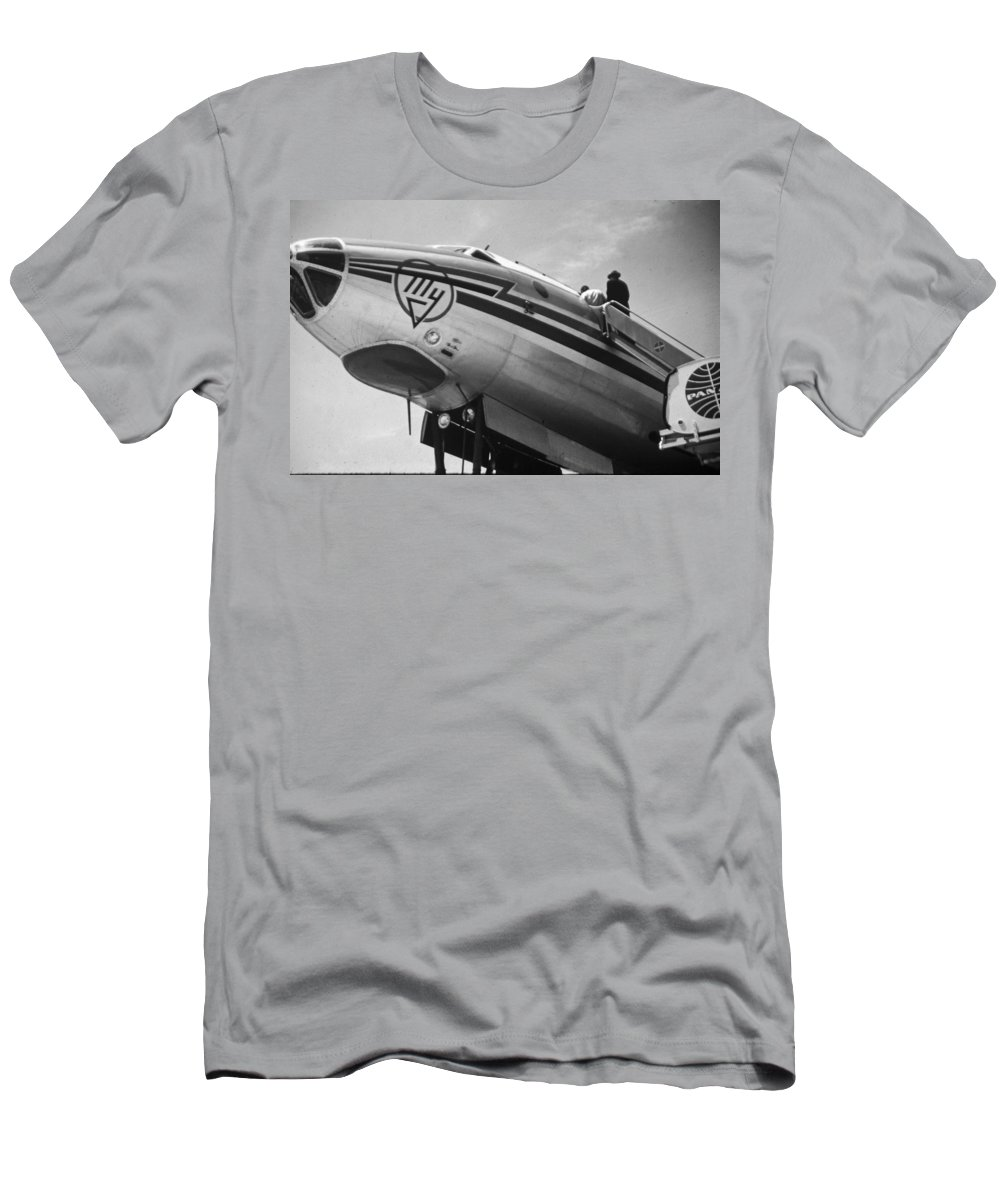 Aviation Men's T-Shirt (Athletic Fit) featuring the photograph Nose Tu-114 Rossiya by John Schneider