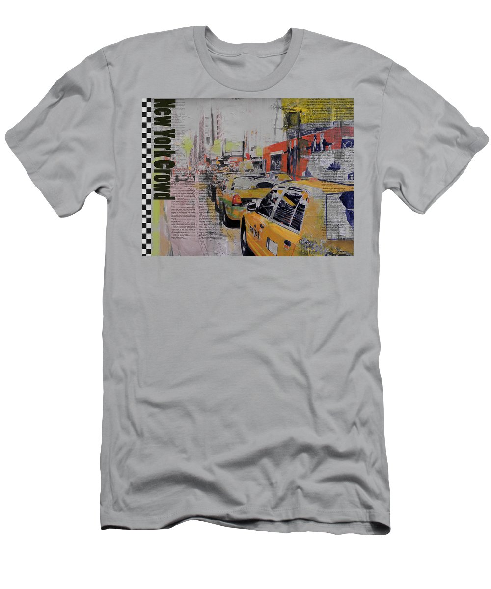 New York City Men's T-Shirt (Athletic Fit) featuring the painting Ny City Collage 2 by Corporate Art Task Force