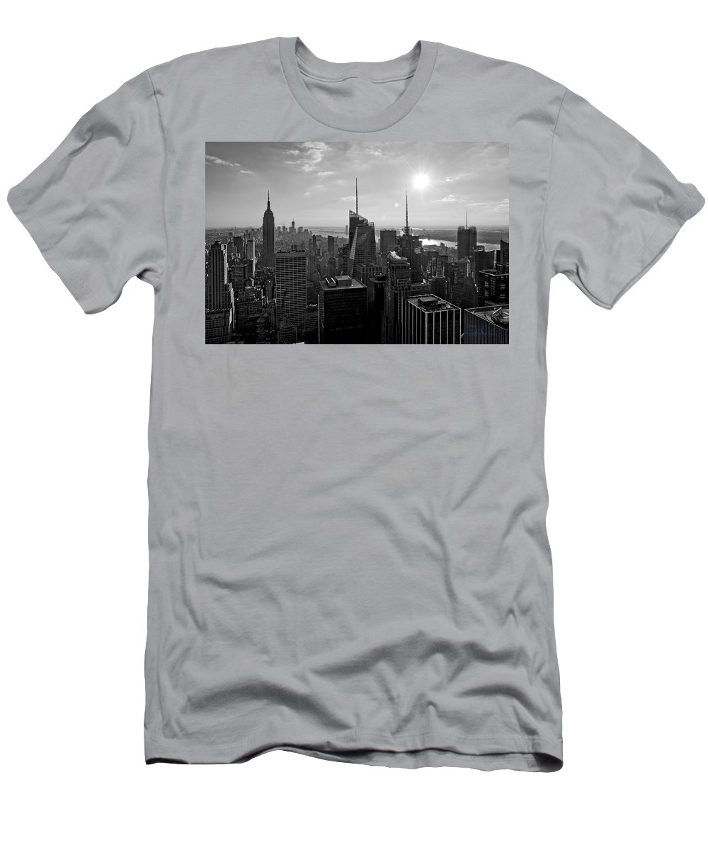 Black And White Men's T-Shirt (Athletic Fit) featuring the photograph Ny Times Skyline Bw by S Paul Sahm