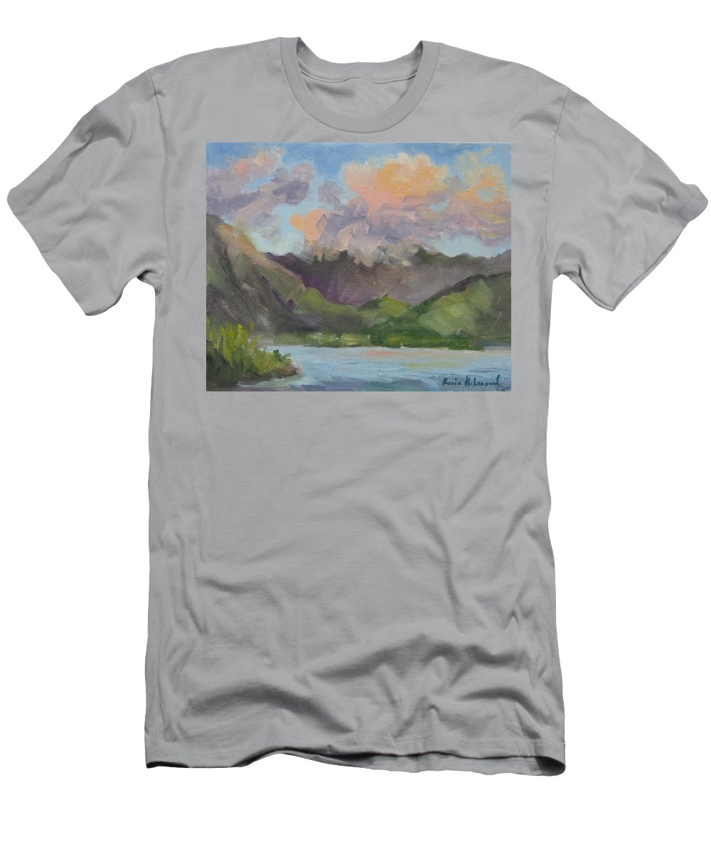 Hawaii Men's T-Shirt (Athletic Fit) featuring the painting Oahu Sunrise by Karin Leonard