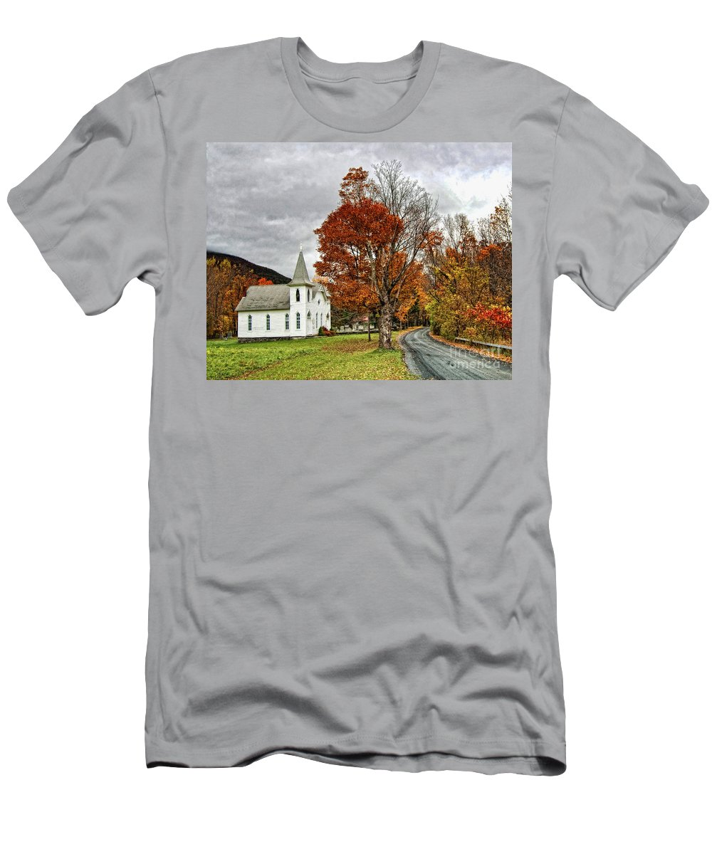 Catskills Men's T-Shirt (Athletic Fit) featuring the photograph October Skies by Claudia Kuhn