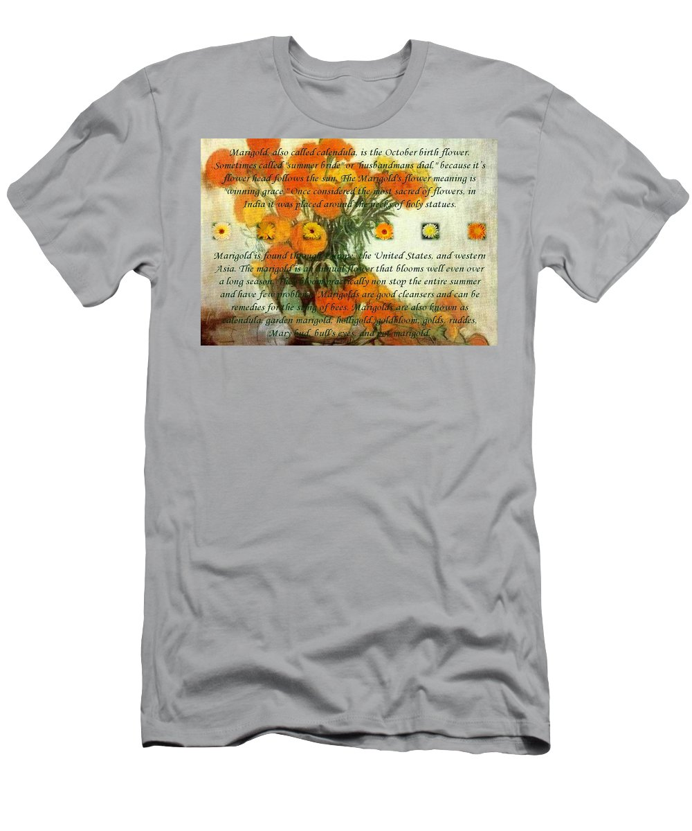 Flower Men's T-Shirt (Athletic Fit) featuring the painting October's Child Birthday Card With Text And Marigolds by Taiche Acrylic Art