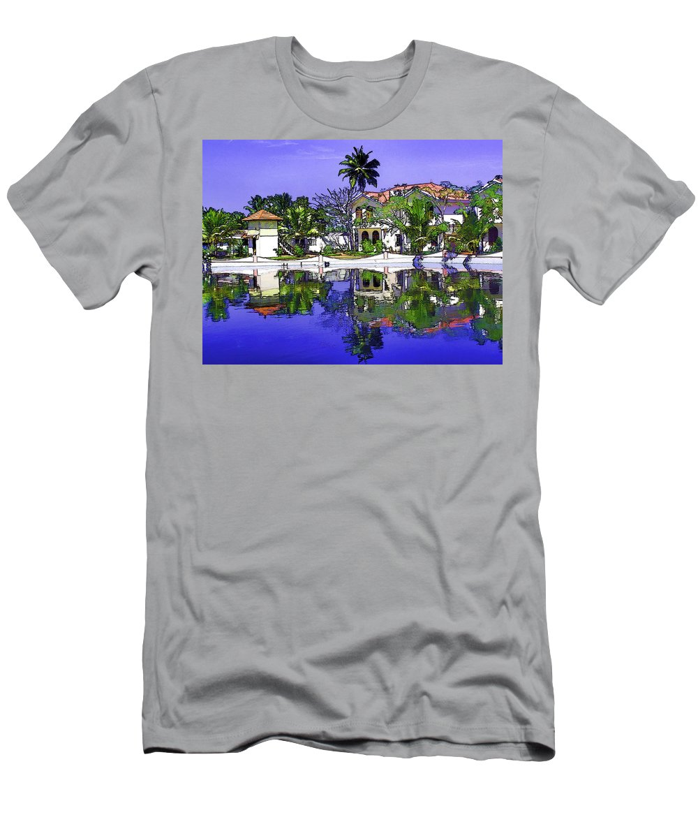 Alleppey Men's T-Shirt (Athletic Fit) featuring the digital art Oil Painting - Cottages And Lagoon Water by Ashish Agarwal