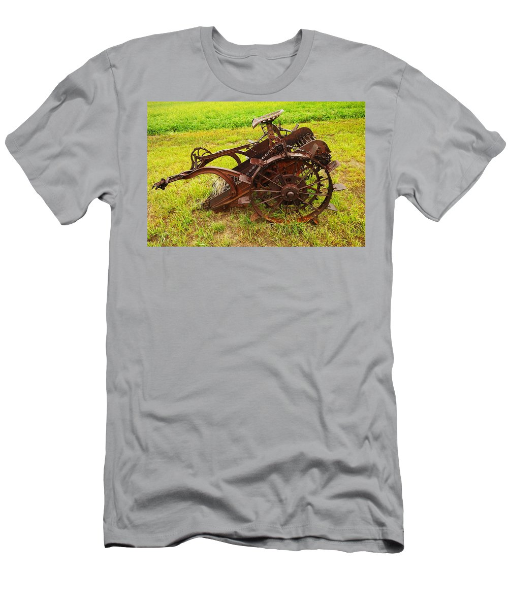 Farming Men's T-Shirt (Athletic Fit) featuring the photograph Old Farm Equipment Hardin Montana by Jeff Swan