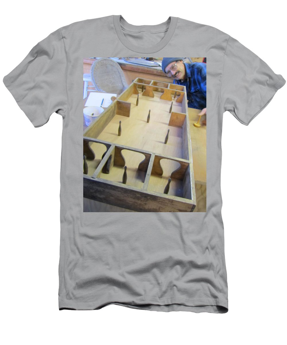 Skittles Game Men's T-Shirt (Athletic Fit) featuring the photograph Old Fashioned Skittles Game by Kym Backland