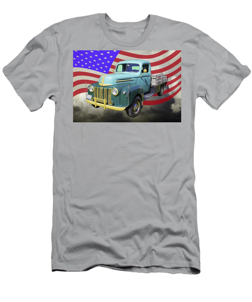 Old Flat Bed Ford Work Truck And American Flag T Shirt For Sale By Keith Webber Jr