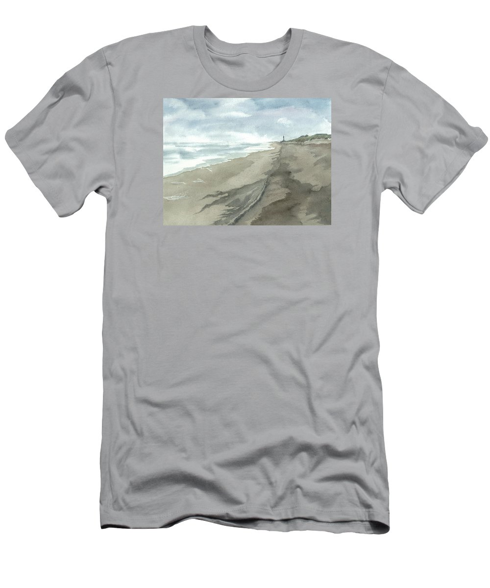 Obx Men's T-Shirt (Athletic Fit) featuring the painting Old Hatteras Light by Joel Deutsch