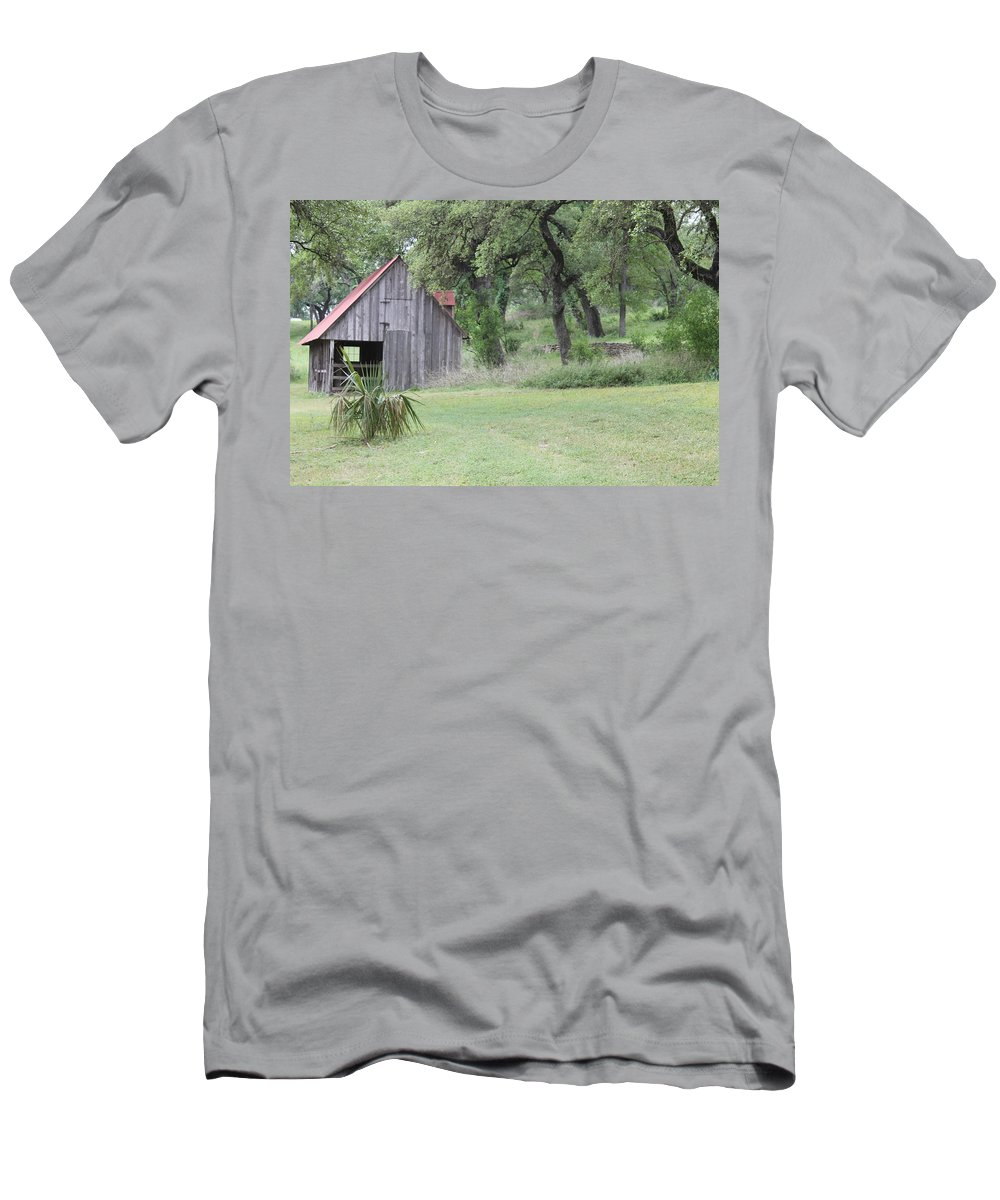 Horse Barn Men's T-Shirt (Athletic Fit) featuring the photograph Old Horse Barn by Angie Andress