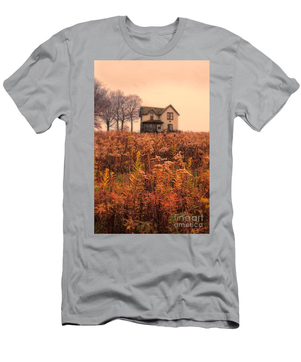 House Men's T-Shirt (Athletic Fit) featuring the photograph Old House In Weeds by Jill Battaglia