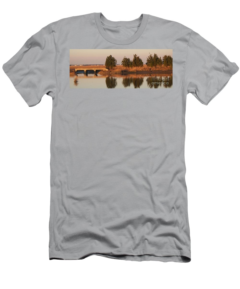 Intercoastal Water Way Men's T-Shirt (Athletic Fit) featuring the photograph Old Roads And Bridges South Jersey by Eric Schiabor