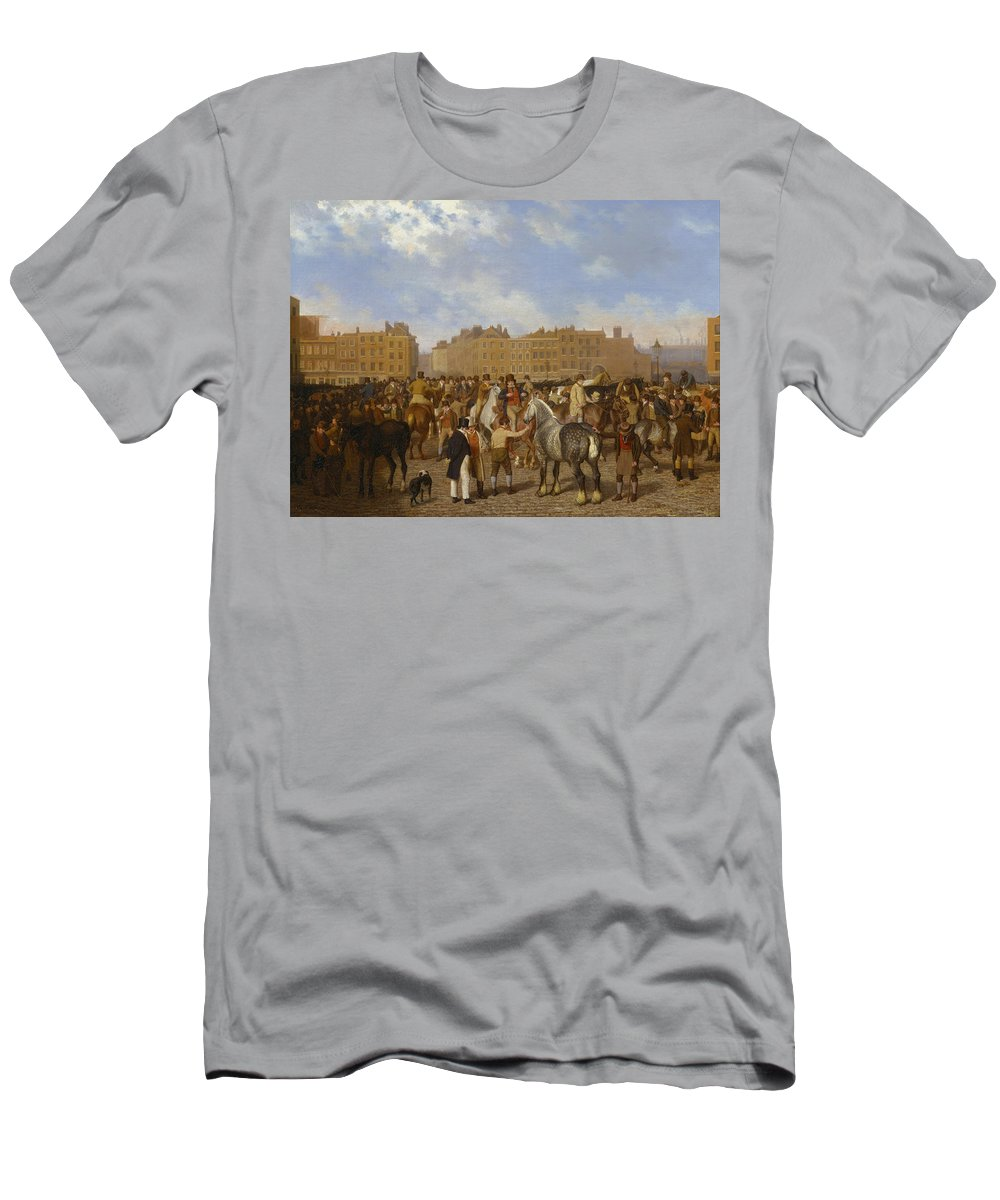 Jacques-laurent Agasse Men's T-Shirt (Athletic Fit) featuring the painting Old Smithfield Market by Jacques-Laurent Agasse